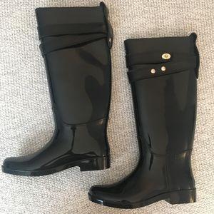 Coach Talia Black Rain Boots W/ Turn-lock Details